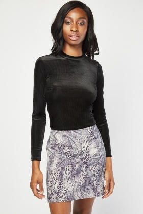 Long Sleeve Ribbed Velveteen Top