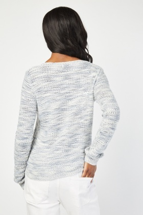 Long Sleeve Speckled Knitted Jumper