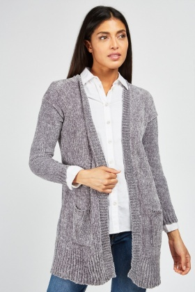 Open Front Chenille Knit Cardigan