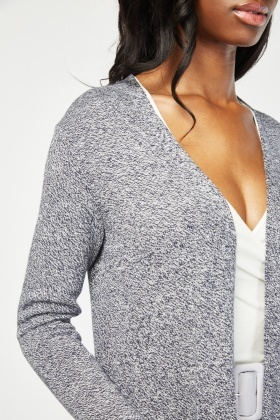 Open Front Speckled Knitted Cardigan