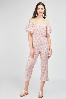 Printed Shimmery Crop Jumpsuit