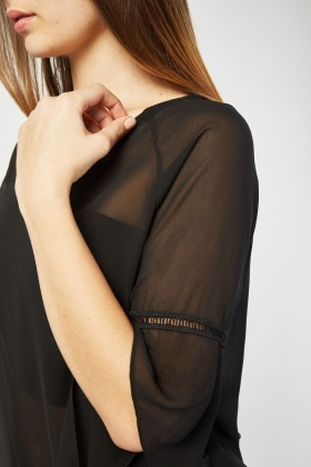 Sheer Slanted Chiffon Blouse
