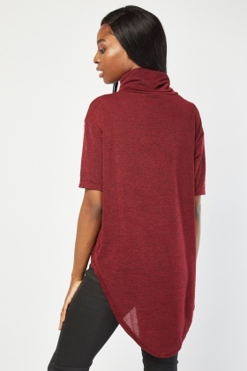 Slouchy Neck Dip Hem Top