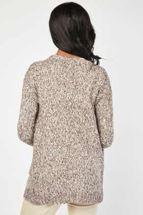 Twin Pocket Front Speckled Cardigan