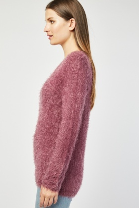 V-Neck Eyelash Knit Jumper