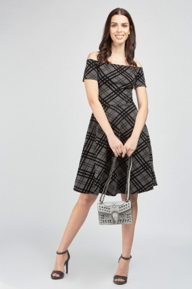 Velveteen Checkered Contrast Dress