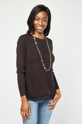 Contrasted Hem Knit Top