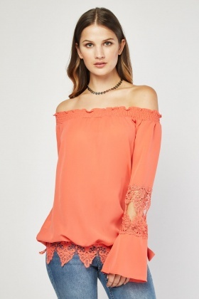 Laser Cut Crochet Trim Blouse
