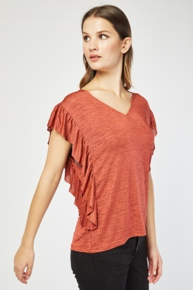 Ruffle Side Trim Basic Top