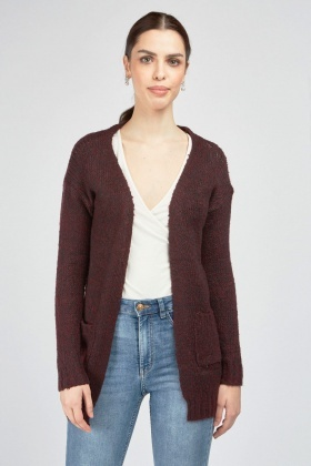 Textured Speckled Knit Cardigan