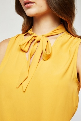 Tie Up Chiffon Sheer Blouse