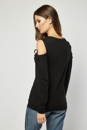 Tie Up Cold Shoulder Sweatshirt