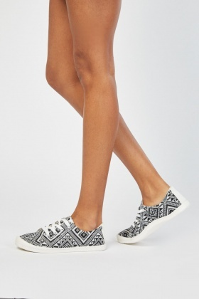 Aztec Pattern Lace Up Plimsolls