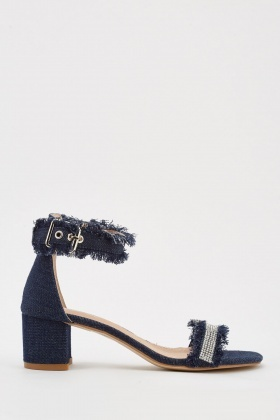 Buckled Raw Denim Edge Sandals