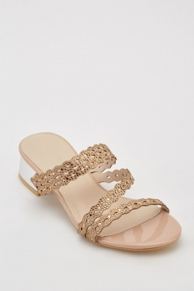 Encrusted Block Heeled Sandals