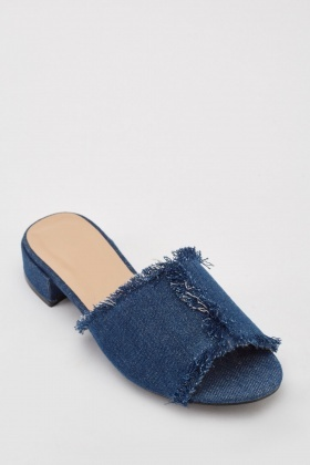 Frayed Denim Edge Mules