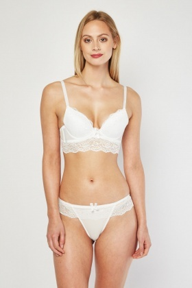 Lace Overlay Bra And Thong Set
