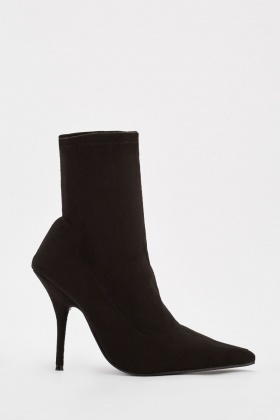 Suedette Pencil Heel Ankle Boots