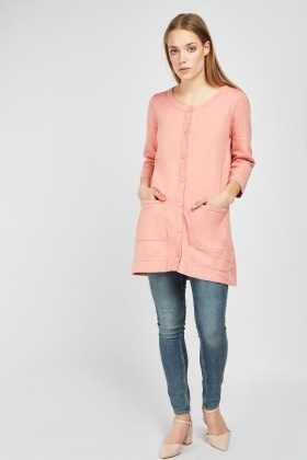 Button Front Dusty Pink Cardigan