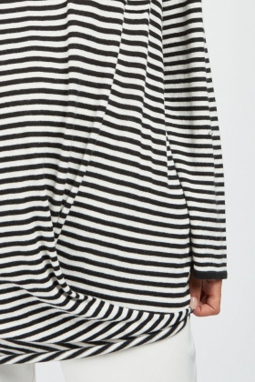 Casual Single Pocket Front Striped Top