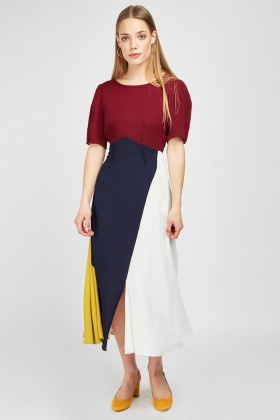 cb84e43269dde Colour Block Midi Chiffon Dress