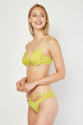 d8b498a077 Cut Out Lace Bra And Brazilian Brief Set - Lime - Just £5