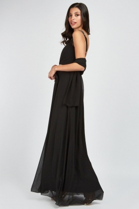 Diamante Trim Pleated Maxi Dress