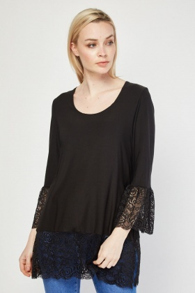 Lace Insert Silky Top