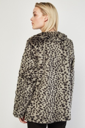 Leopard Print Fluffy Fur Jacket
