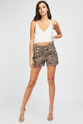 Military Button Trim Tweed Shorts