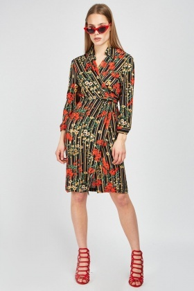 Printed Tie Up Midi Wrap Dress
