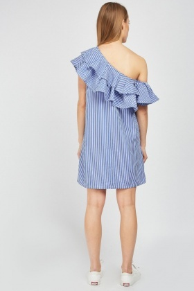 Ruffle Asymmetric Stripe Dress