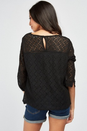 Ruffle Trim Lace Top