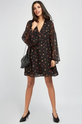 Sheer Printed Babydoll Dress
