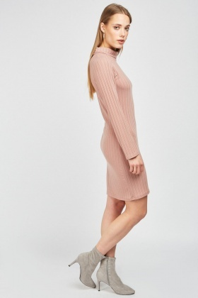 Slouchy Neck Midi Rib Dress