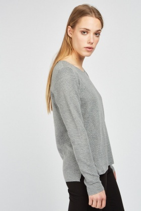Textured Round Neck Jumper