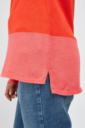 Two Tone Contrasted Knit Top
