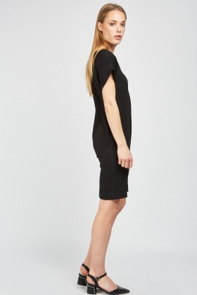 V-Neck Plain Shift Dress