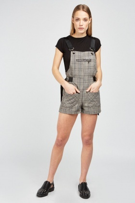 Dungaree Style Plaid Playsuit