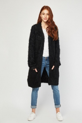 Eyelash Knitted Long Line Cardigan