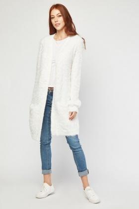 bad4aac848e Eyelash Knitted Long Line Cardigan