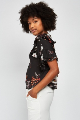 Floral Ruffle Tiered Blouse