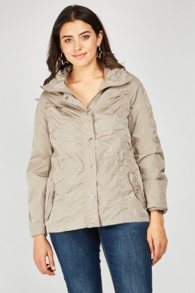 Long Sleeve Gathered Waist Rain Jacket