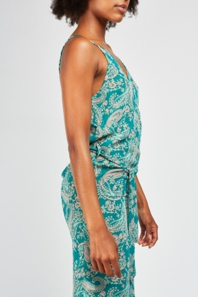 Paisley Print Sheer Slip Dress