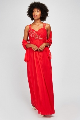 Pleated Gem Encrusted Maxi Dress
