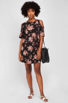 435a8c36753 Printed Cold Shoulder Shift Dress