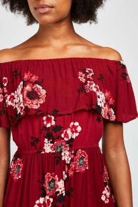 Printed Off Shoulder Light Bardot Dress