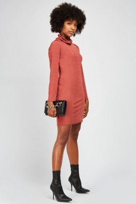 Slouchy Neck Rib Mini Dress