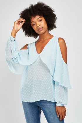 Textured Cold Shoulder Blouse