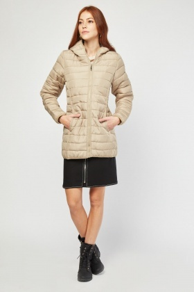Zip Up Hooded Quilted Jacket